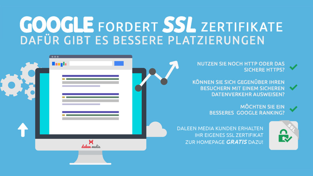 kostenlose Zertifiktae von Daleen - seo Optimierung mit hTTPS Sicherheitszertifikate für ein besseres Google Ranking in den Suchergebnissen.
