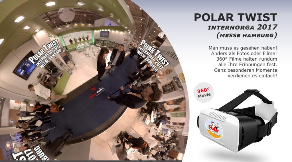 HD Screen VR_Brille für ihre Kunden um 360 Grad Film von Polar Twist auf der Inernorga 2017
